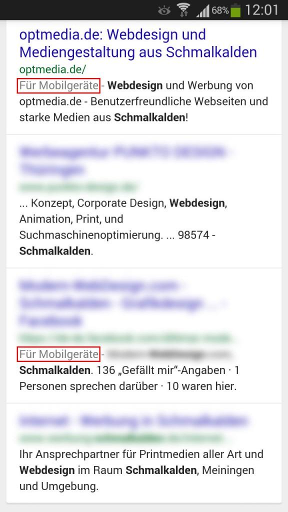 """Beispiel Suchbegriff """"webdesign schmalkalden"""""""